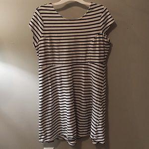 Ponte-Knit Striped Stretchy Shift Dress